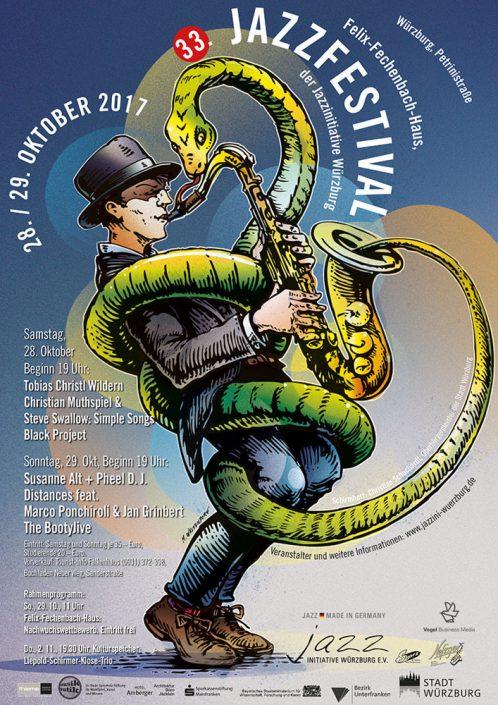 Plakat 33. Jazzfestival Würzburg 2017 (Design: Markus Westendorf)