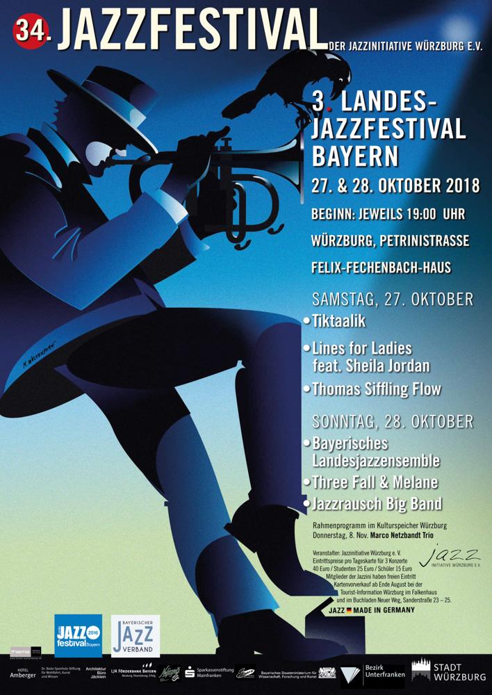 Plakat 34. Jazzfestival Würzburg / 3. Landesjazzfestival Würzburg 2018 (Design: Markus Westendorf)